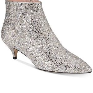 Kate spade silver booties shimmery sz:8 party